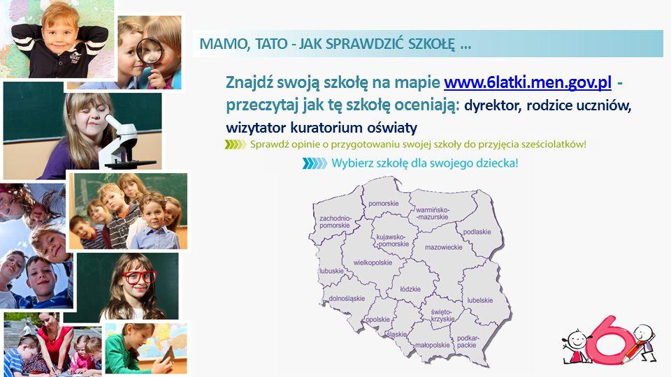 Znajdź swoją szkołę na mapie www.6latki.men.gov.pl - przeczytaj jak tę szkołę oceniają: dyrektor, rodzice uczniów, wizytator kuratorium oświatywww.6latki.men.gov.pl MAMO, TATO - JAK SPRAWDZIĆ SZKOŁĘ …