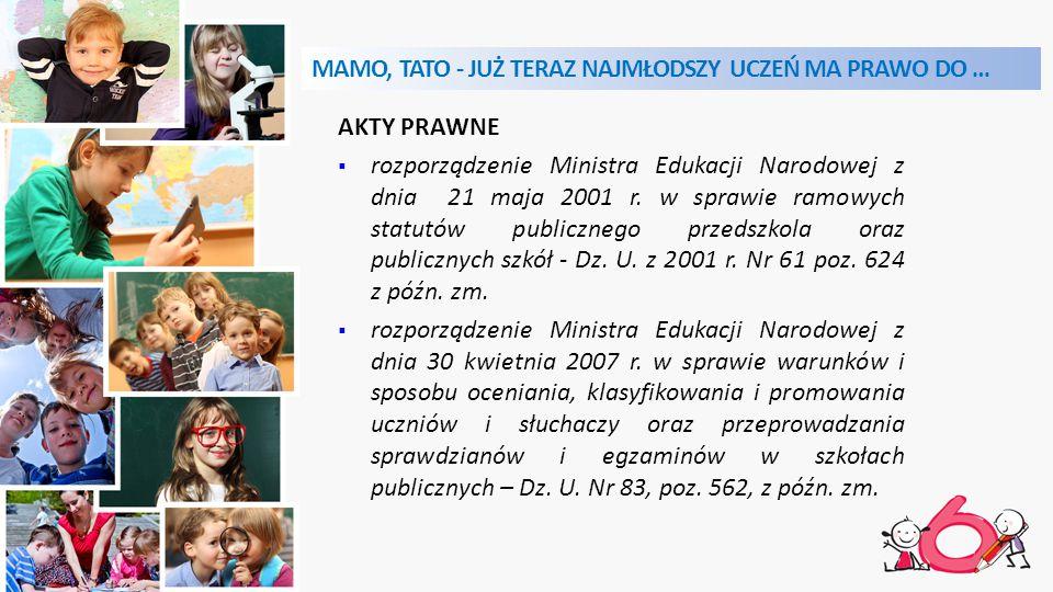 MAMO, TATO - JUŻ TERAZ NAJMŁODSZY UCZEŃ MA PRAWO DO … AKTY PRAWNE  rozporządzenie Ministra Edukacji Narodowej z dnia 21 maja 2001 r.
