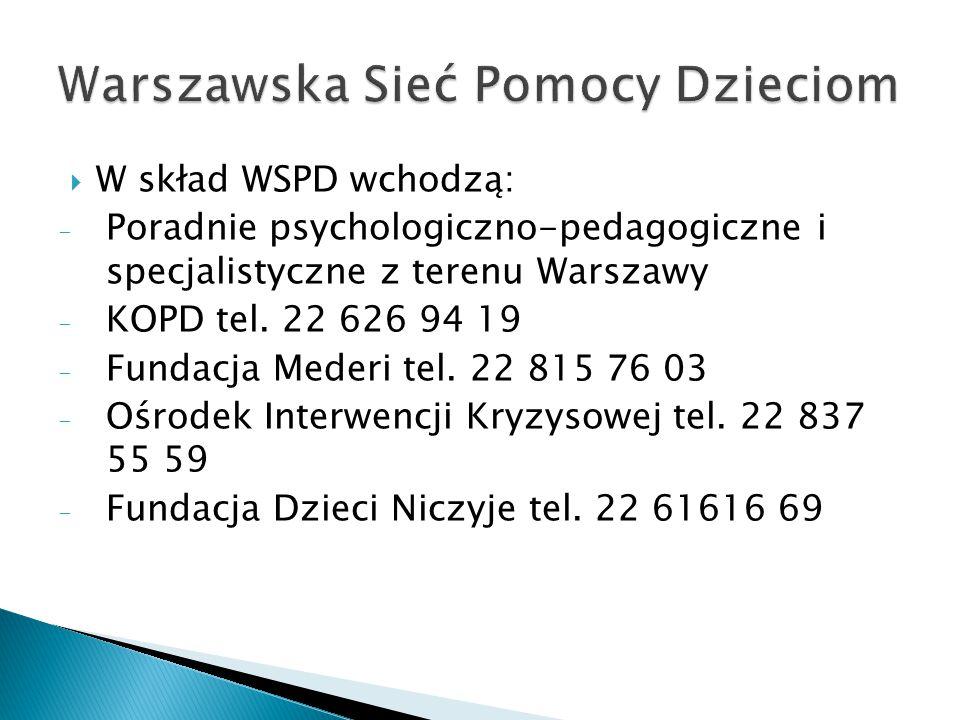 W skład WSPD wchodzą: - Poradnie psychologiczno-pedagogiczne i specjalistyczne z terenu Warszawy - KOPD tel. 22 626 94 19 - Fundacja Mederi tel. 22