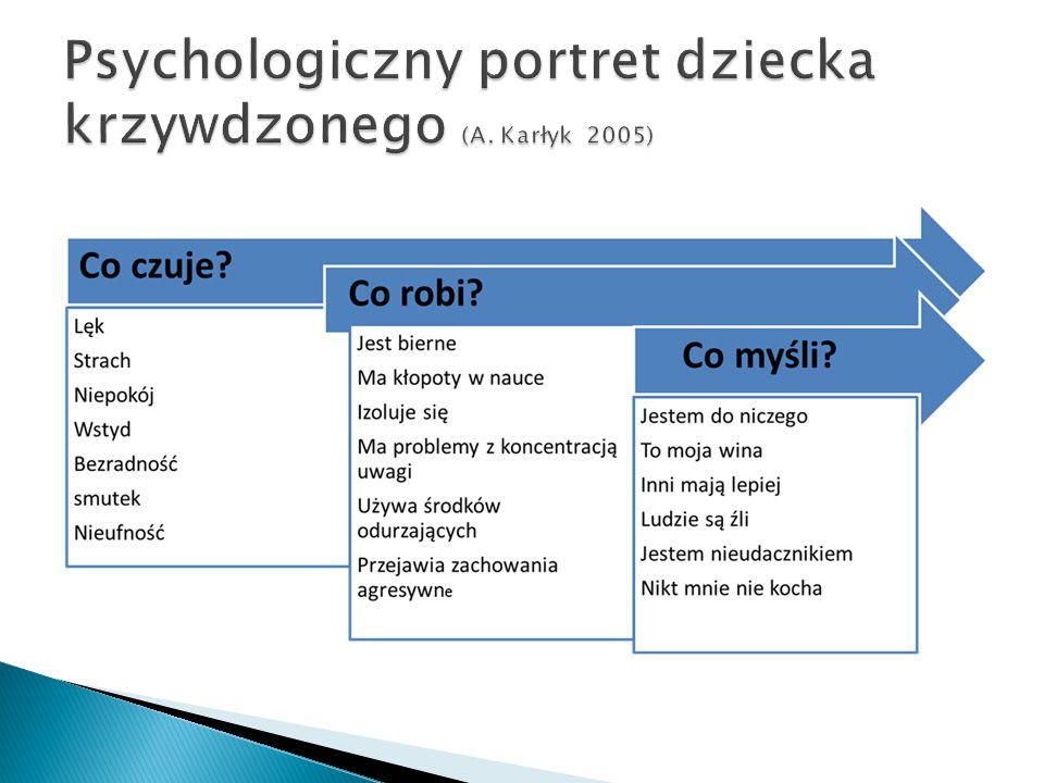 """Techniki psychologiczne przydatne w rozmowie z dzieckiem krzywdzonym - Pytania otwarte (unikaj pytań sugerujących, przechodź od pytań ogólnych do pytań szczegółowych, ograniczanie pytań """"dlaczego ) - Parafrazy """"Powiedziałeś, że…, czy tak? - Odzwierciedlanie emocji - Ustalenie nazewnictwa dotyczącego genitaliów i zachowań seksualnych używanego przez dziecko"""