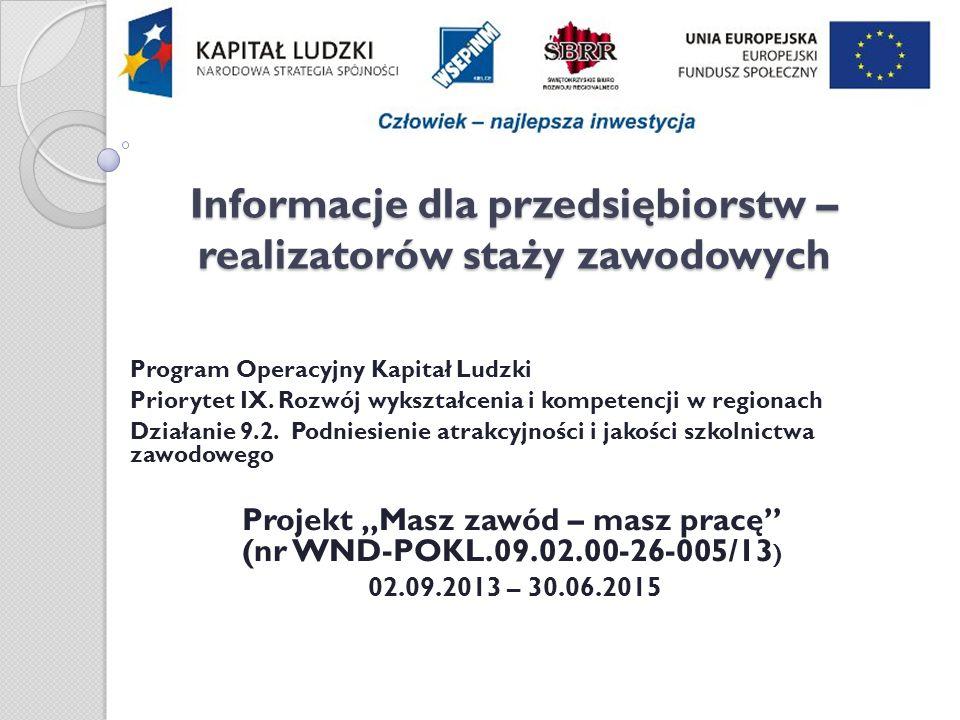 Informacje dla przedsiębiorstw – realizatorów staży zawodowych Program Operacyjny Kapitał Ludzki Priorytet IX.