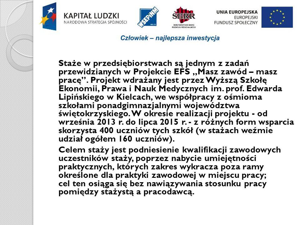"""Staże w przedsiębiorstwach są jednym z zadań przewidzianych w Projekcie EFS """"Masz zawód – masz pracę ."""