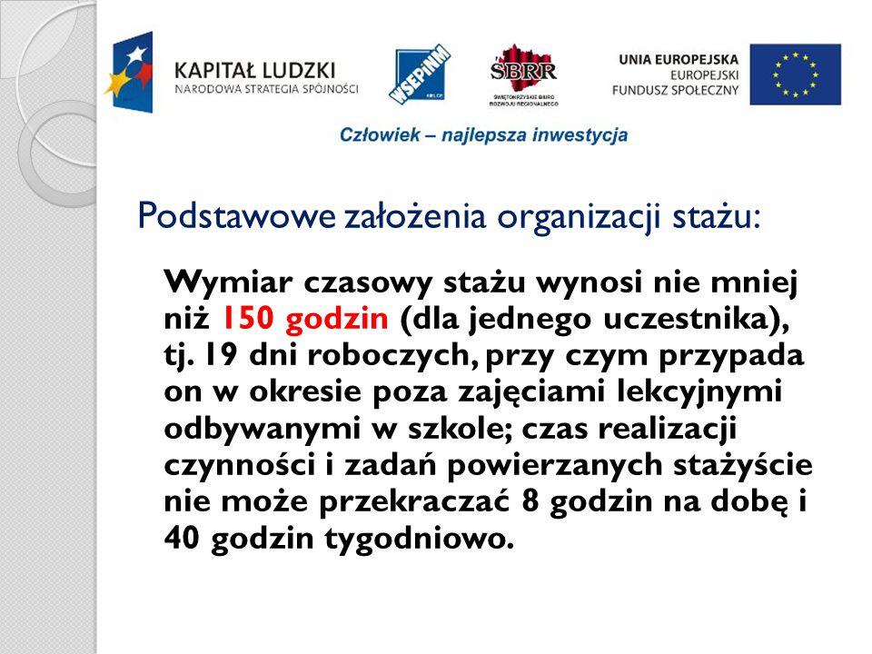 Następujące dokumenty - Program stażu, Lista obecności, Opinia z przebytego stażu, można pobrać ze strony internetowej Projektu: www.maszprace.wsepinm.edu.pl www.maszprace.wsepinm.edu.pl (w zakładce – staże).