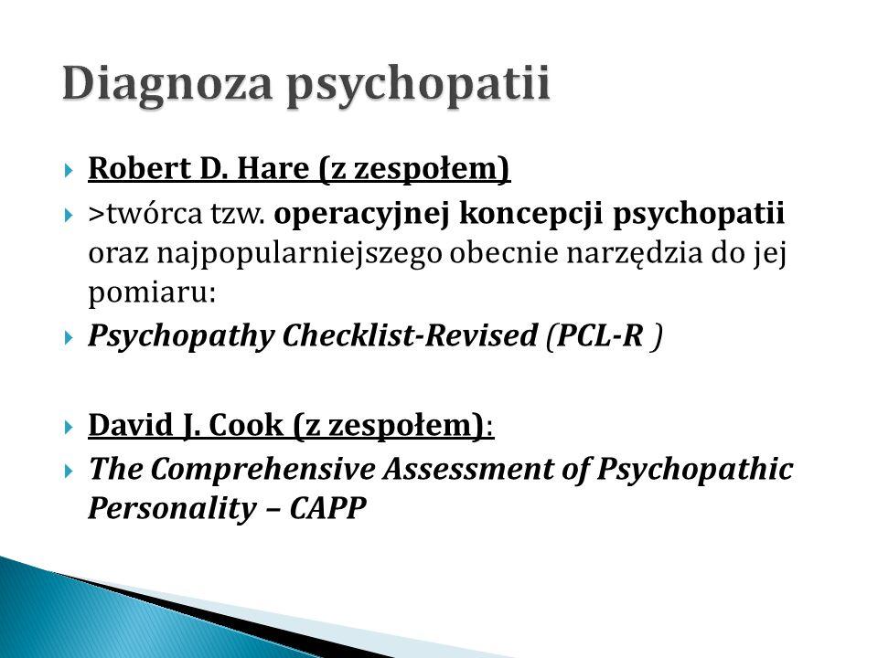  Robert D. Hare (z zespołem)  >twórca tzw. operacyjnej koncepcji psychopatii oraz najpopularniejszego obecnie narzędzia do jej pomiaru:  Psychopath