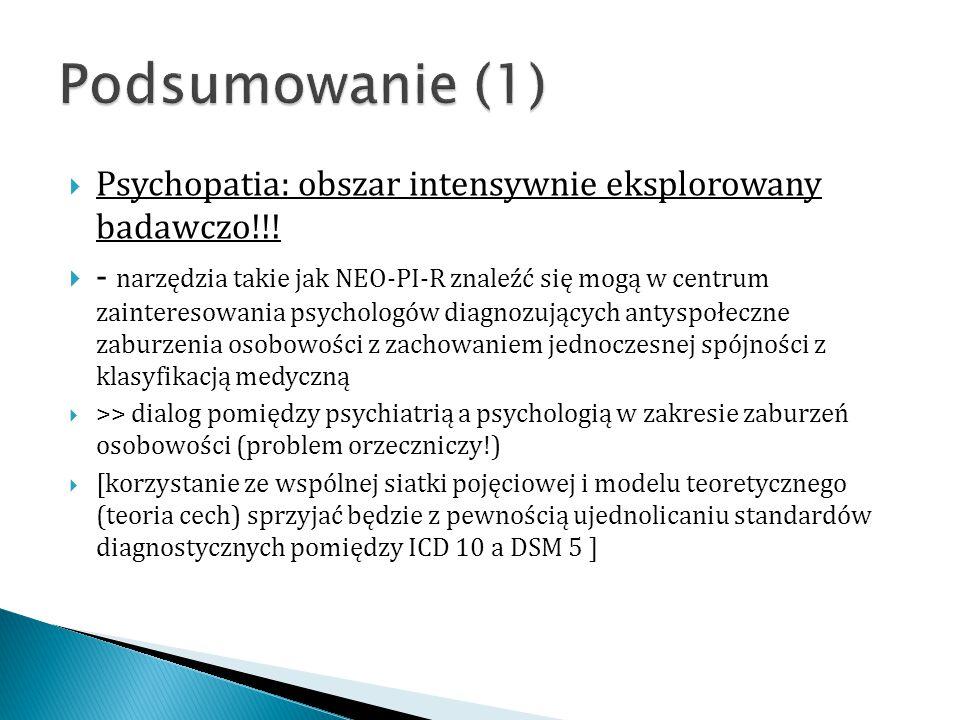  Psychopatia: obszar intensywnie eksplorowany badawczo!!!  - narzędzia takie jak NEO-PI-R znaleźć się mogą w centrum zainteresowania psychologów dia