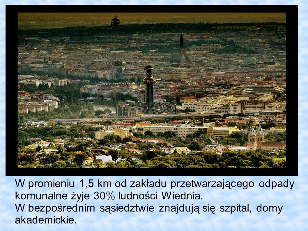 W promieniu 1,5 km od zakładu przetwarzającego odpady komunalne żyje 30% ludności Wiednia. W bezpośrednim sąsiedztwie znajdują się szpital, domy akade