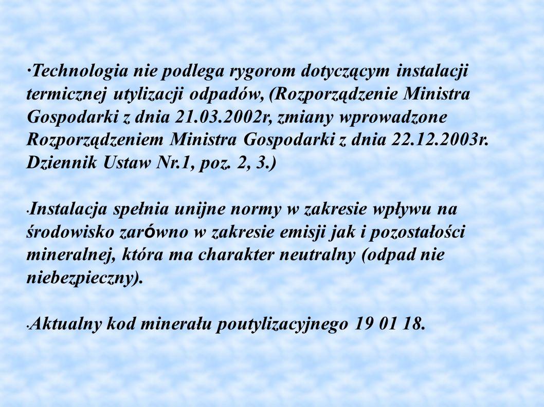 ·Technologia nie podlega rygorom dotyczącym instalacji termicznej utylizacji odpadów, (Rozporządzenie Ministra Gospodarki z dnia 21.03.2002r, zmiany w