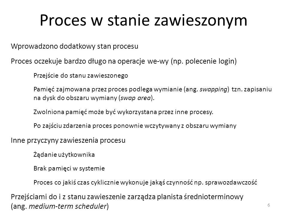 Proces w stanie zawieszonym 6 Wprowadzono dodatkowy stan procesu Proces oczekuje bardzo długo na operacje we-wy (np. polecenie login) Przejście do sta
