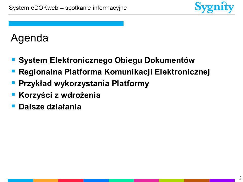 System eDOKweb – spotkanie informacyjne  System Elektronicznego Obiegu Dokumentów  Regionalna Platforma Komunikacji Elektronicznej  Przykład wykorz