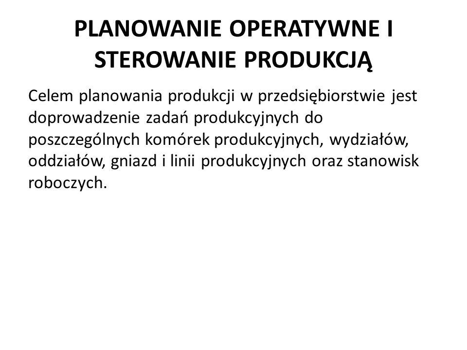 PLANOWANIE OPERATYWNE I STEROWANIE PRODUKCJĄ Celem planowania produkcji w przedsiębiorstwie jest doprowadzenie zadań produkcyjnych do poszczególnych k