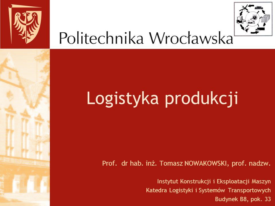 Logistyka produkcji Prof. dr hab. inż. Tomasz NOWAKOWSKI, prof. nadzw. Instytut Konstrukcji i Eksploatacji Maszyn Katedra Logistyki i Systemów Transpo