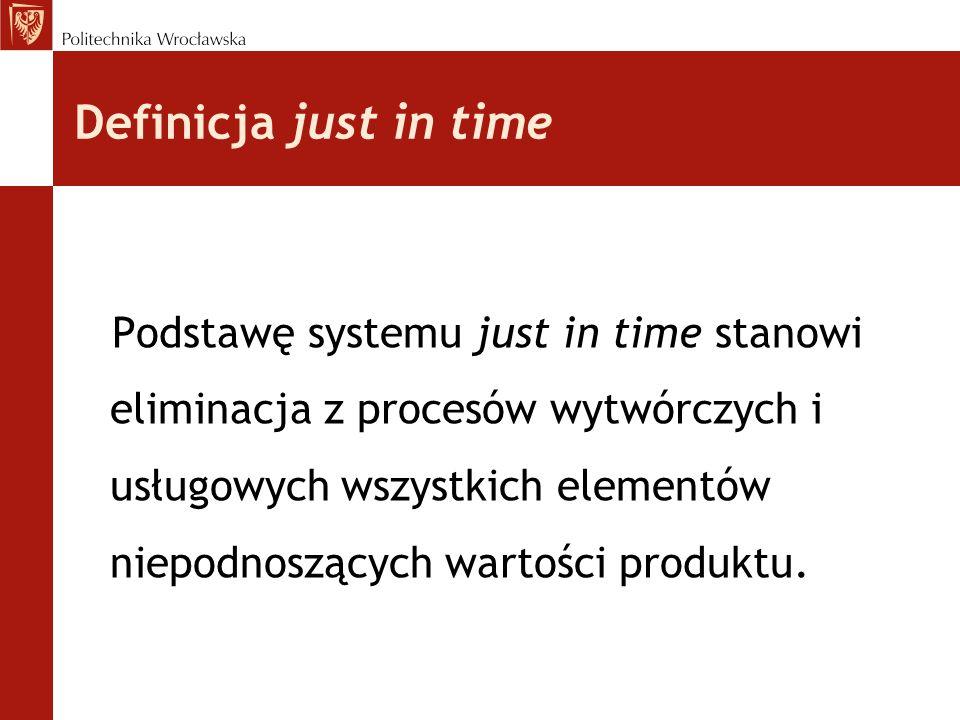 Definicja just in time Podstawę systemu just in time stanowi eliminacja z procesów wytwórczych i usługowych wszystkich elementów niepodnoszących wartości produktu.