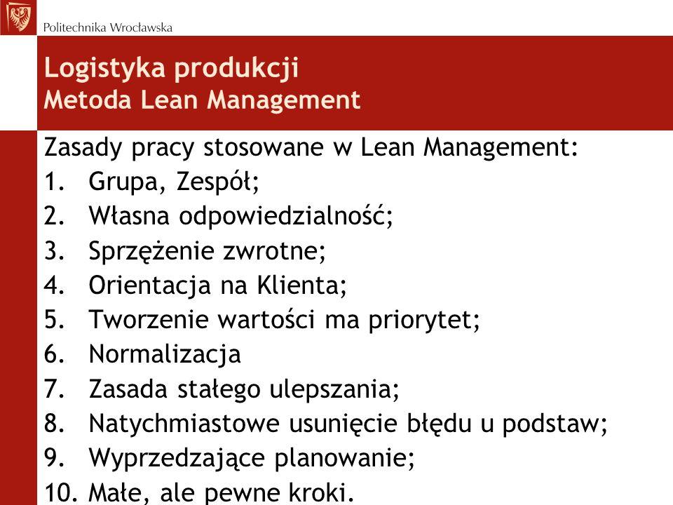 Zasady pracy stosowane w Lean Management: 1.Grupa, Zespół; 2.Własna odpowiedzialność; 3.Sprzężenie zwrotne; 4.Orientacja na Klienta; 5.Tworzenie wartości ma priorytet; 6.Normalizacja 7.Zasada stałego ulepszania; 8.Natychmiastowe usunięcie błędu u podstaw; 9.Wyprzedzające planowanie; 10.Małe, ale pewne kroki.