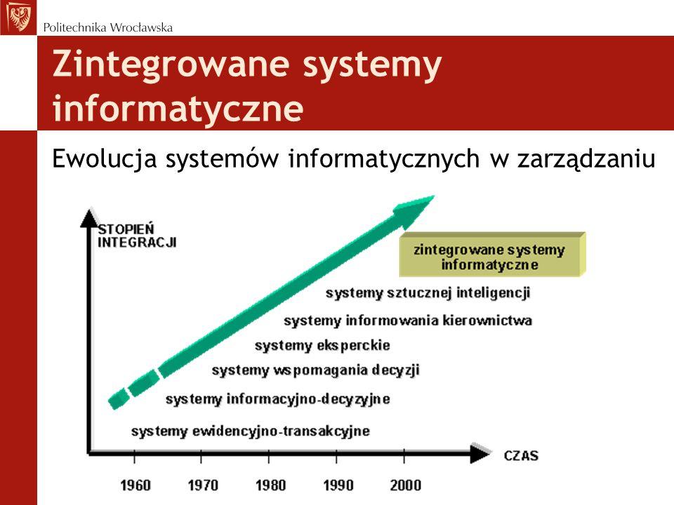 Zintegrowane systemy informatyczne Ewolucja systemów informatycznych w zarządzaniu