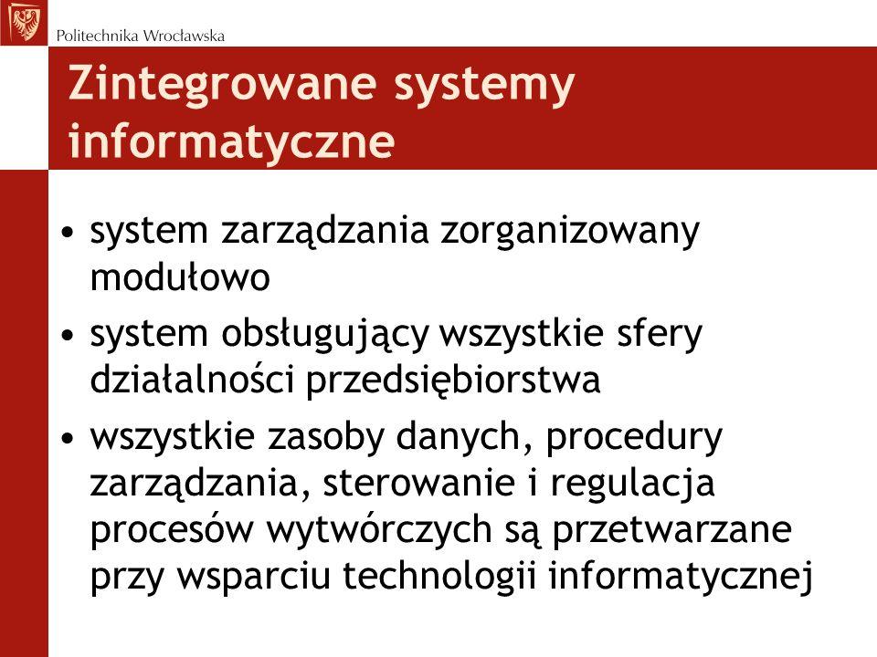 system zarządzania zorganizowany modułowo system obsługujący wszystkie sfery działalności przedsiębiorstwa wszystkie zasoby danych, procedury zarządza