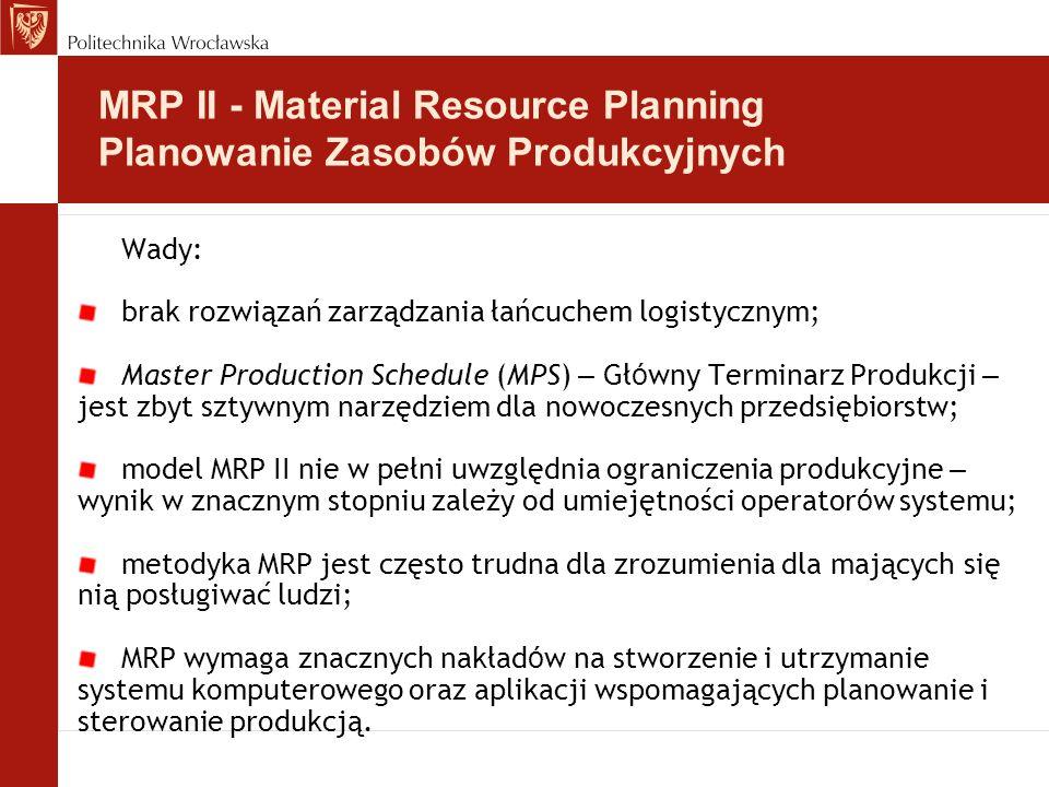 Wady: brak rozwiązań zarządzania łańcuchem logistycznym; Master Production Schedule (MPS) – Gł ó wny Terminarz Produkcji – jest zbyt sztywnym narzędziem dla nowoczesnych przedsiębiorstw; model MRP II nie w pełni uwzględnia ograniczenia produkcyjne – wynik w znacznym stopniu zależy od umiejętności operator ó w systemu; metodyka MRP jest często trudna dla zrozumienia dla mających się nią posługiwać ludzi; MRP wymaga znacznych nakład ó w na stworzenie i utrzymanie systemu komputerowego oraz aplikacji wspomagających planowanie i sterowanie produkcją.