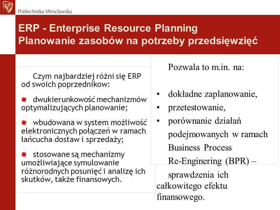Czym najbardziej różni się ERP od swoich poprzednikow: dwukierunkowość mechanizmów optymalizujących planowanie; wbudowana w system możliwość elektronicznych połączeń w ramach łańcucha dostaw i sprzedaży; stosowane są mechanizmy umożliwiające symulowanie różnorodnych posunięć i analizę ich skutków, także finansowych.