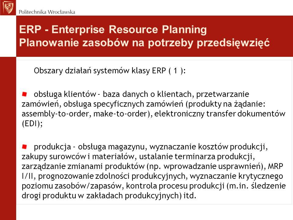 Obszary działań systemów klasy ERP ( 1 ): obsługa klientów - baza danych o klientach, przetwarzanie zamówień, obsługa specyficznych zamówień (produkty