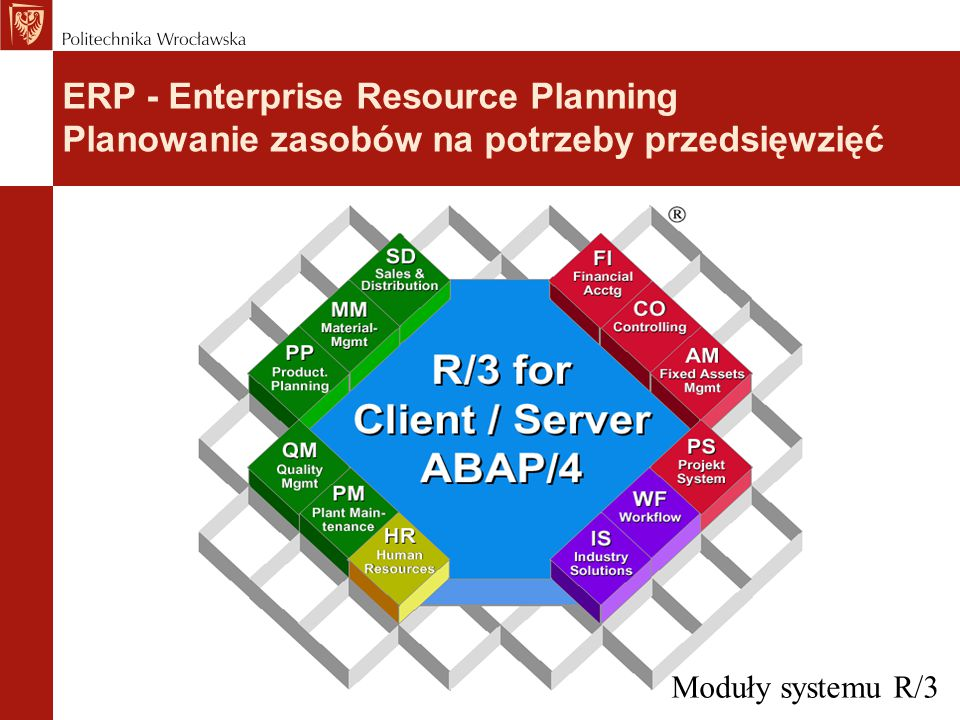Moduły systemu R/3 ERP - Enterprise Resource Planning Planowanie zasobów na potrzeby przedsięwzięć