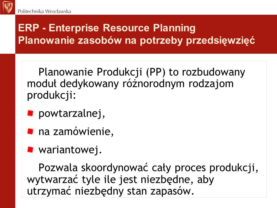 Planowanie Produkcji (PP) to rozbudowany moduł dedykowany różnorodnym rodzajom produkcji: powtarzalnej, na zamówienie, wariantowej.
