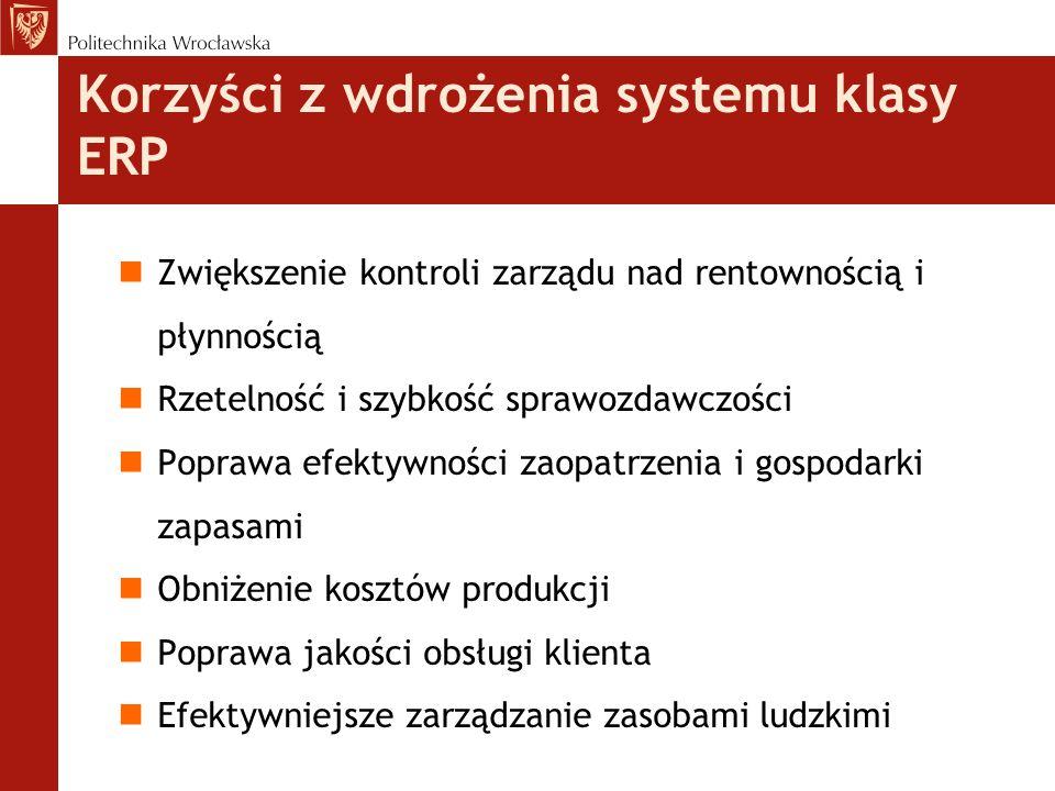 Korzyści z wdrożenia systemu klasy ERP nZwiększenie kontroli zarządu nad rentownością i płynnością nRzetelność i szybkość sprawozdawczości nPoprawa ef