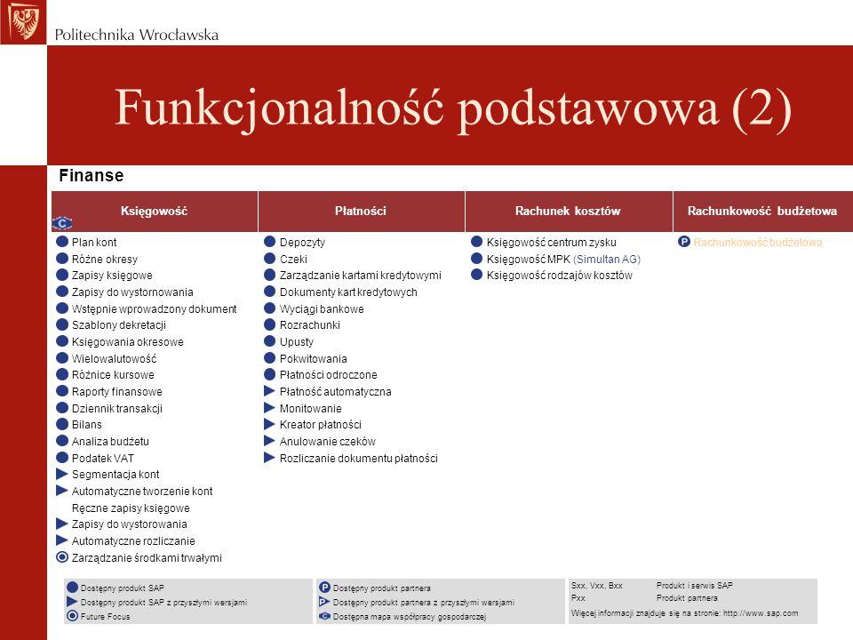 Finanse Dostępny produkt SAP Dostępny produkt SAP z przyszłymi wersjami Future Focus Dostępny produkt partnera Dostępny produkt partnera z przyszłymi wersjami Dostępna mapa współpracy gospodarczej Sxx, Vxx, BxxProdukt i serwis SAP PxxProdukt partnera Więcej informacji znajduje się na stronie: http://www.sap.com Księgowość Plan kont Różne okresy Zapisy księgowe Zapisy do wystornowania Wstępnie wprowadzony dokument Szablony dekretacji Księgowania okresowe Wielowalutowość Różnice kursowe Raporty finansowe Dziennik transakcji Bilans Analiza budżetu Podatek VAT Segmentacja kont Automatyczne tworzenie kont Ręczne zapisy księgowe Zapisy do wystorowania Automatyczne rozliczanie Zarządzanie środkami trwałymi Płatności Depozyty Czeki Zarządzanie kartami kredytowymi Dokumenty kart kredytowych Wyciągi bankowe Rozrachunki Upusty Pokwitowania Płatności odroczone Płatność automatyczna Monitowanie Kreator płatności Anulowanie czeków Rozliczanie dokumentu płatności Rachunek kosztów Księgowość centrum zysku Księgowość MPK (Simultan AG) Księgowość rodzajów kosztów Rachunkowość budżetowa Funkcjonalność podstawowa (2)