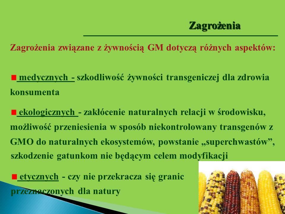 Zagrożenia związane z żywnością GM dotyczą różnych aspektów: medycznych - szkodliwość żywności transgeniczej dla zdrowia konsumenta ekologicznych - za