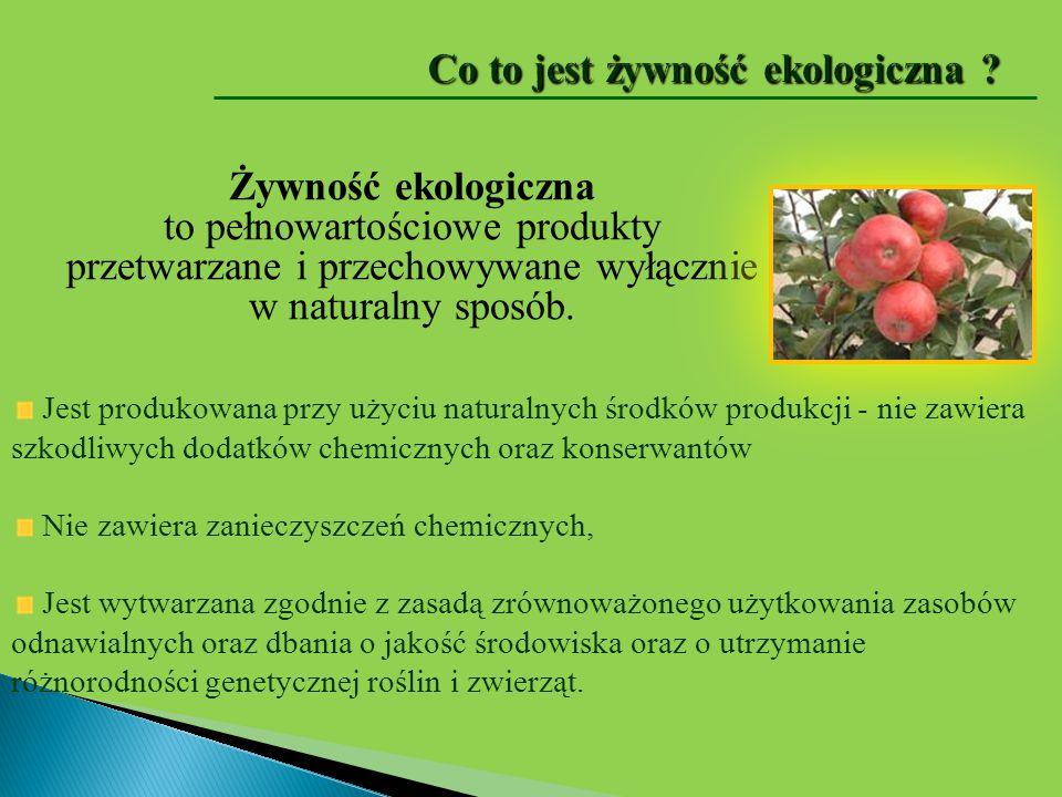 Żywność ekologiczna to pełnowartościowe produkty przetwarzane i przechowywane wyłącznie w naturalny sposób. Jest produkowana przy użyciu naturalnych ś