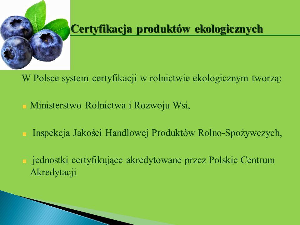 W Polsce system certyfikacji w rolnictwie ekologicznym tworzą: Ministerstwo Rolnictwa i Rozwoju Wsi, Inspekcja Jakości Handlowej Produktów Rolno-Spoży