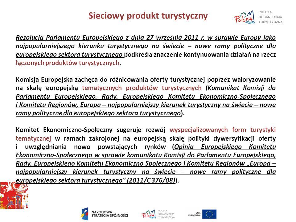 Sieciowy produkt turystyczny Rezolucja Parlamentu Europejskiego z dnia 27 września 2011 r. w sprawie Europy jako najpopularniejszego kierunku turystyc