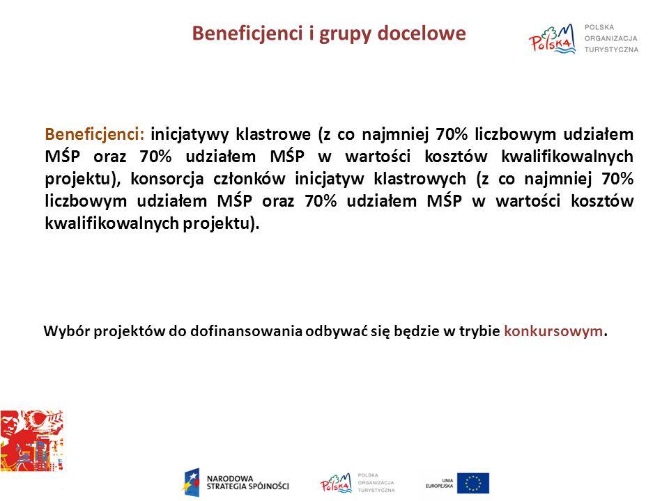 Beneficjenci i grupy docelowe Beneficjenci: inicjatywy klastrowe (z co najmniej 70% liczbowym udziałem MŚP oraz 70% udziałem MŚP w wartości kosztów kwalifikowalnych projektu), konsorcja członków inicjatyw klastrowych (z co najmniej 70% liczbowym udziałem MŚP oraz 70% udziałem MŚP w wartości kosztów kwalifikowalnych projektu).