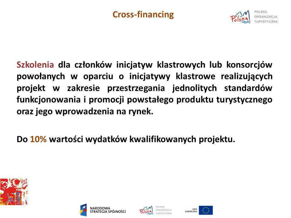 Cross-financing Szkolenia dla członków inicjatyw klastrowych lub konsorcjów powołanych w oparciu o inicjatywy klastrowe realizujących projekt w zakresie przestrzegania jednolitych standardów funkcjonowania i promocji powstałego produktu turystycznego oraz jego wprowadzenia na rynek.