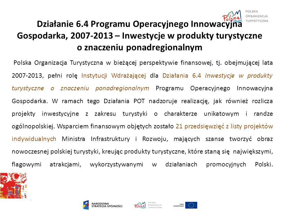 Działanie 6.4 Programu Operacyjnego Innowacyjna Gospodarka, 2007-2013 – Inwestycje w produkty turystyczne o znaczeniu ponadregionalnym Polska Organiza