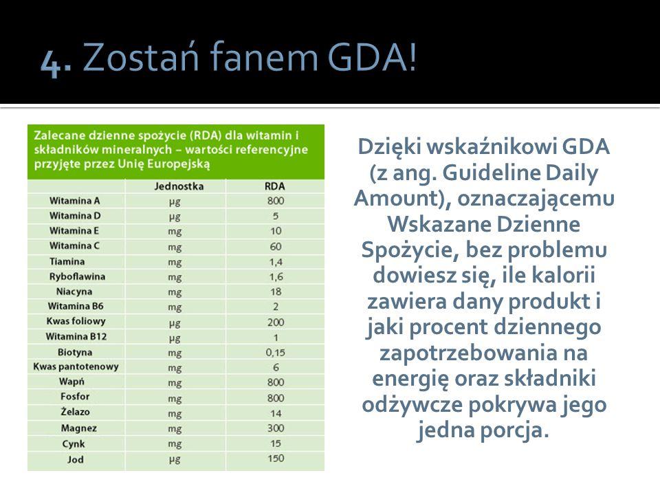 Dzięki wskaźnikowi GDA (z ang. Guideline Daily Amount), oznaczającemu Wskazane Dzienne Spożycie, bez problemu dowiesz się, ile kalorii zawiera dany pr