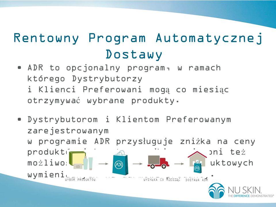 Rentowny Program Automatycznej Dostawy ADR to opcjonalny program, w ramach którego Dystrybutorzy i Klienci Preferowani mog ą co miesi ą c otrzymywa ć wybrane produkty.