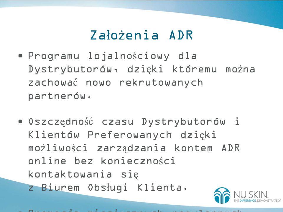 Opcje rejestracji w programie ADR Dystrybutorzy i Klienci Preferowani mog ą zarejestrowa ć si ę w nowym programie ADR na nast ę puj ą ce sposoby: –online –poczt ą tradycyjn ą –telefonicznie