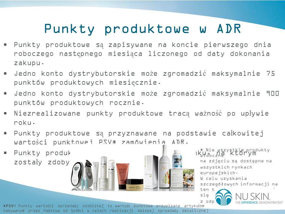 Punkty produktowe w ADR Dystrybutorzy i Klienci Preferowani mog ą realizowa ć swoje punkty produktowe na nast ę puj ą ce sposoby: online faksem / pocztą w centrum dystrybutorskim Wymienianie punktów produktowych na darmowe produkty: P łatność za d armowe produkty za pomoc ą zgromadzonych punktów produktowych musi by ć kompletna oraz w pełni odpowiadać ich cenie.