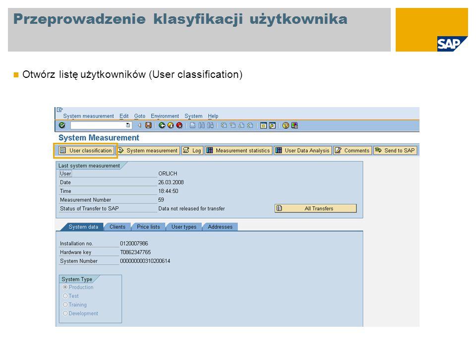 Przeprowadzenie klasyfikacji użytkownika Otwórz listę użytkowników (User classification)