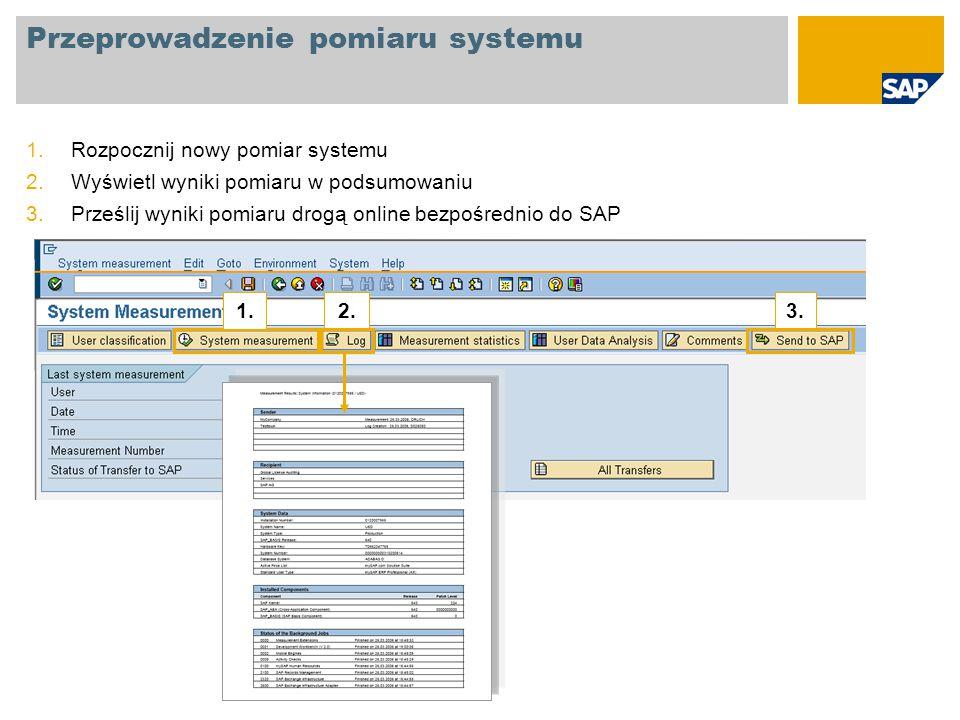 Przeprowadzenie pomiaru systemu 1.Rozpocznij nowy pomiar systemu 2.Wyświetl wyniki pomiaru w podsumowaniu 3.Prześlij wyniki pomiaru drogą online bezpo