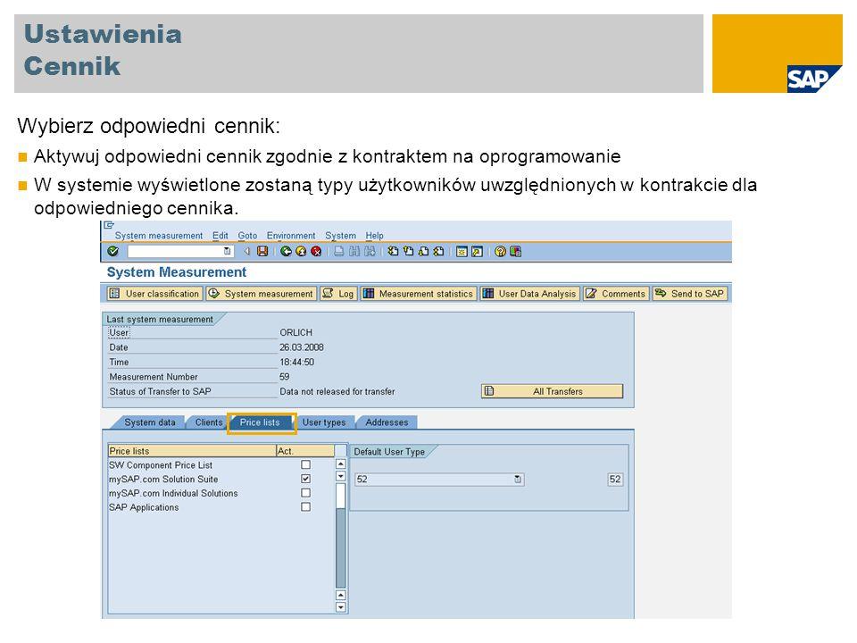 Ustawienia Cennik Wybierz odpowiedni cennik: Aktywuj odpowiedni cennik zgodnie z kontraktem na oprogramowanie W systemie wyświetlone zostaną typy użyt