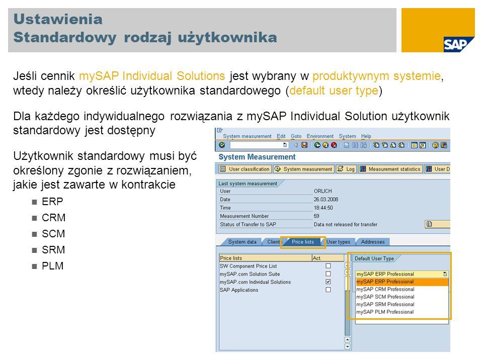 Ustawienia Standardowy rodzaj użytkownika Jeśli cennik mySAP Individual Solutions jest wybrany w produktywnym systemie, wtedy należy określić użytkown