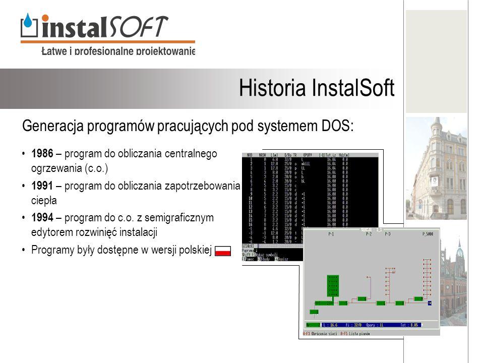 1986 – program do obliczania centralnego ogrzewania (c.o.) 1991 – program do obliczania zapotrzebowania ciepła 1994 – program do c.o. z semigraficznym