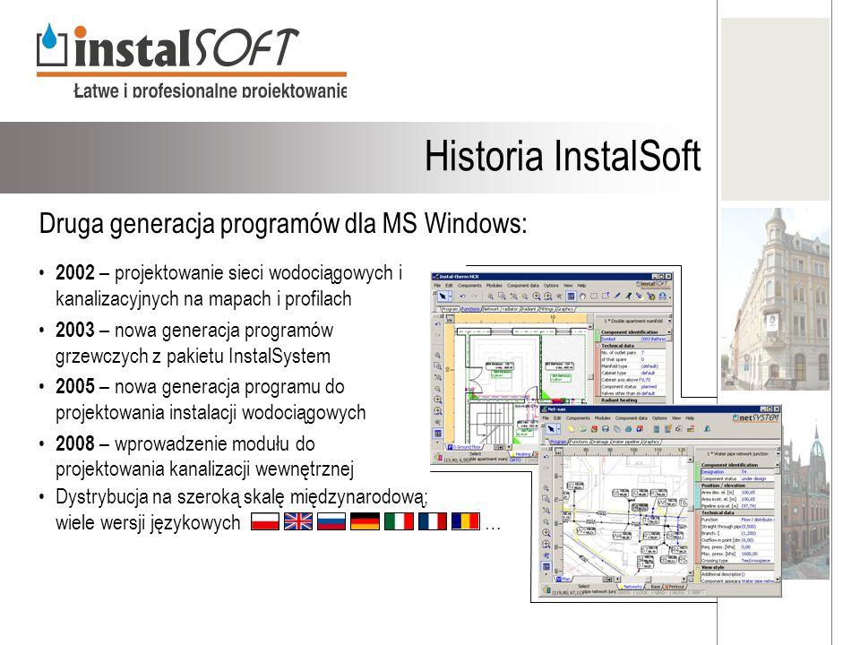Druga generacja programów dla MS Windows: 2002 – projektowanie sieci wodociągowych i kanalizacyjnych na mapach i profilach 2003 – nowa generacja progr