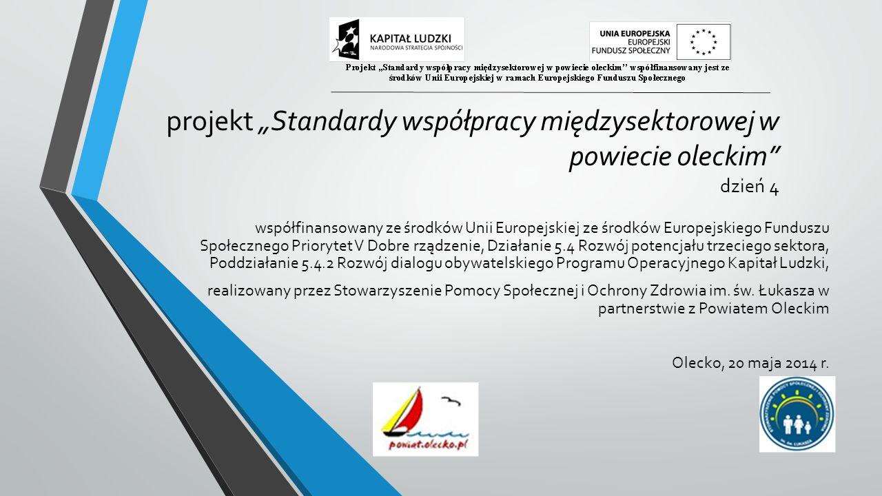 """projekt """"Standardy współpracy międzysektorowej w powiecie oleckim dzień 4 współfinansowany ze środków Unii Europejskiej ze środków Europejskiego Funduszu Społecznego Priorytet V Dobre rządzenie, Działanie 5.4 Rozwój potencjału trzeciego sektora, Poddziałanie 5.4.2 Rozwój dialogu obywatelskiego Programu Operacyjnego Kapitał Ludzki, realizowany przez Stowarzyszenie Pomocy Społecznej i Ochrony Zdrowia im."""