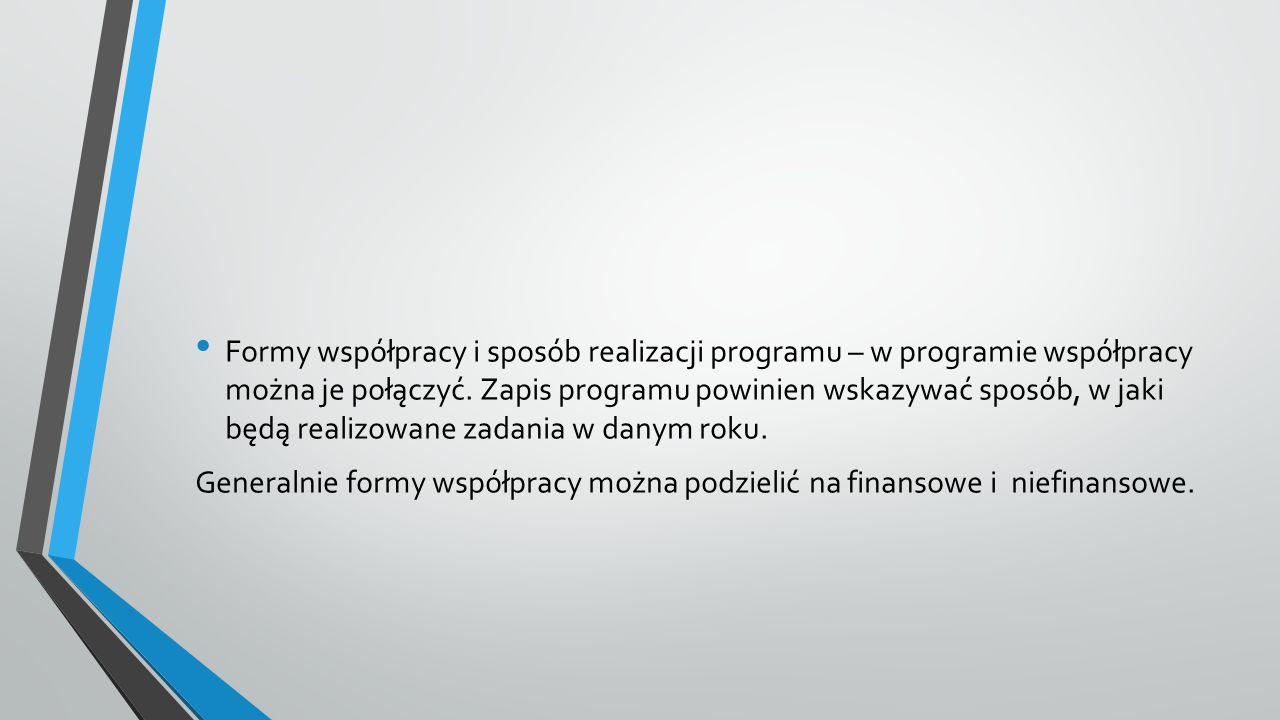 Formy współpracy i sposób realizacji programu – w programie współpracy można je połączyć.
