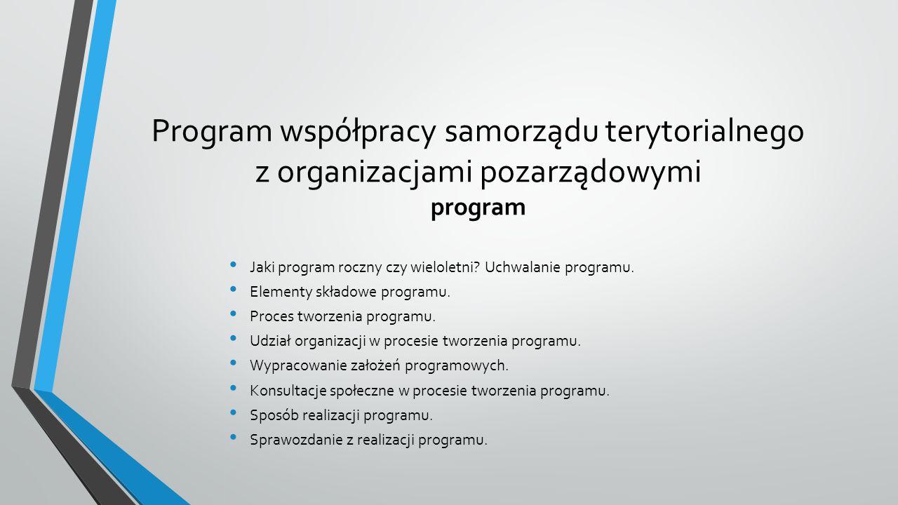 Program współpracy samorządu terytorialnego z organizacjami pozarządowymi program Jaki program roczny czy wieloletni.