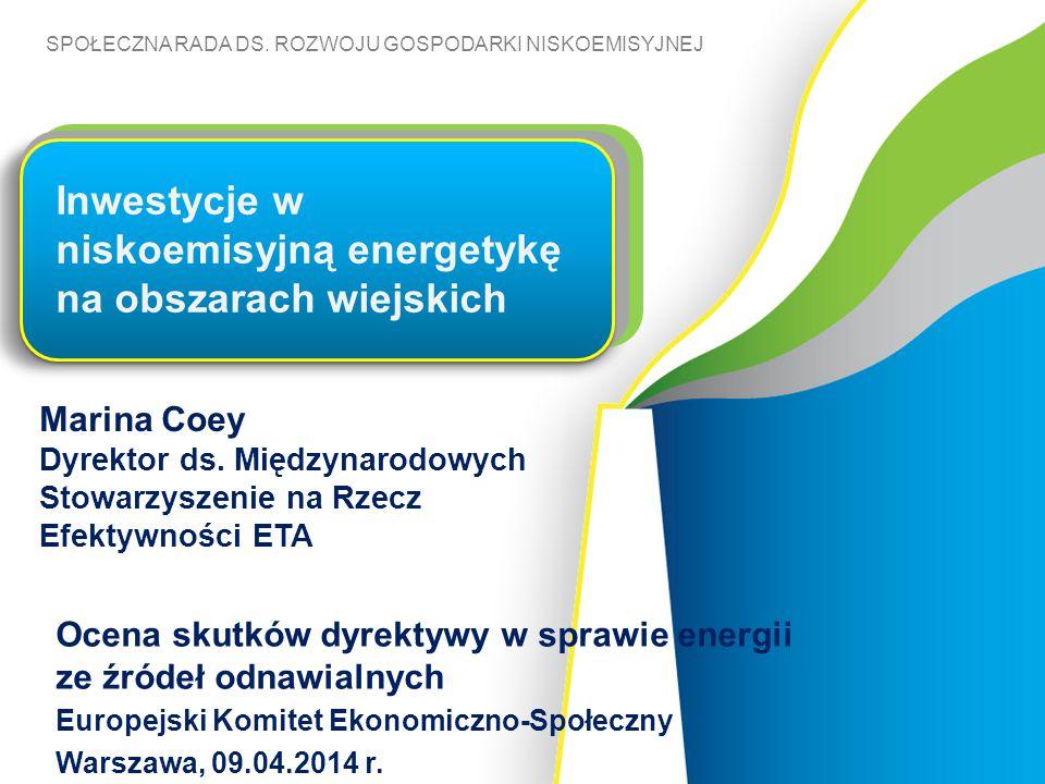 SPOŁECZNA RADA DS. ROZWOJU GOSPODARKI NISKOEMISYJNEJ Marina Coey Dyrektor ds. Międzynarodowych Stowarzyszenie na Rzecz Efektywności ETA Inwestycje w n