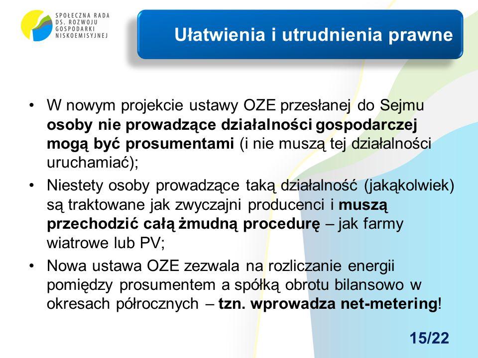 W nowym projekcie ustawy OZE przesłanej do Sejmu osoby nie prowadzące działalności gospodarczej mogą być prosumentami (i nie muszą tej działalności ur