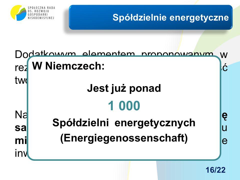 Dodatkowym elementem proponowanym w rezultacie naszej analizy jest możliwość tworzenia tzw. Spółdzielni energetycznych. Należy podkreślić bardzo dużą