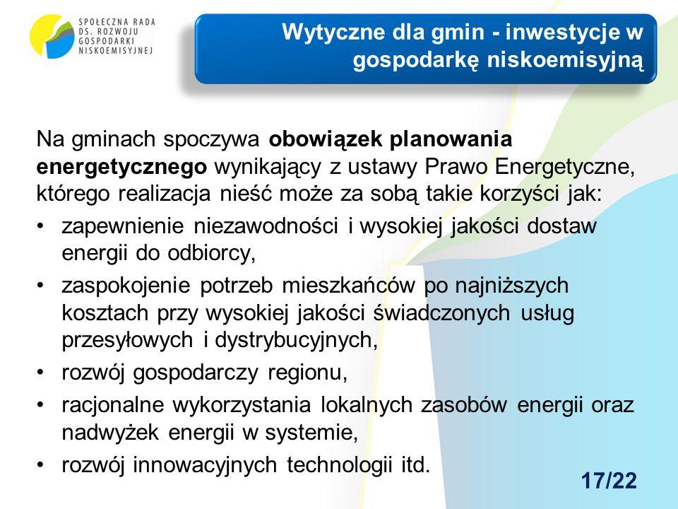 Na gminach spoczywa obowiązek planowania energetycznego wynikający z ustawy Prawo Energetyczne, którego realizacja nieść może za sobą takie korzyści j